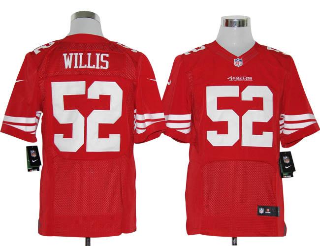 Size 60 4XL-Patrick Willis San Francisco 49ers #52 Red Stitched Nike Elite NFL Jerseys