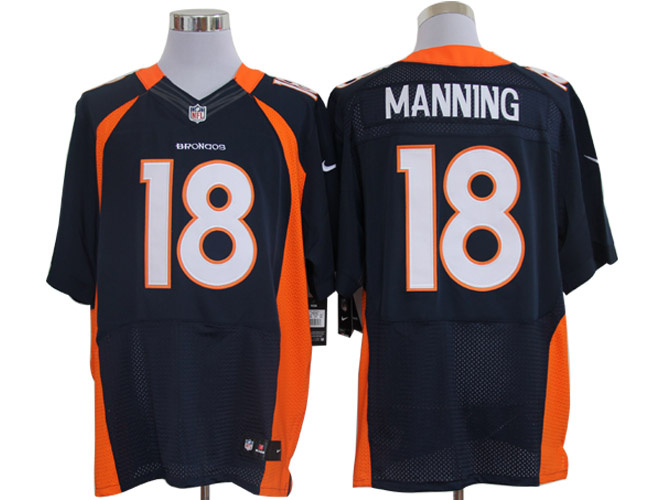 Size 60 4XL-Peyton Manning Denver Broncos #18 Blue Stitched Nike Elite NFL Jerseys