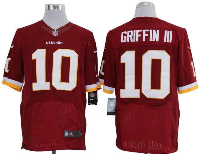 Size 60 4XL-Robert Griffin III Washington Redskins #10 Red Stitched Nike Elite NFL Jerseys