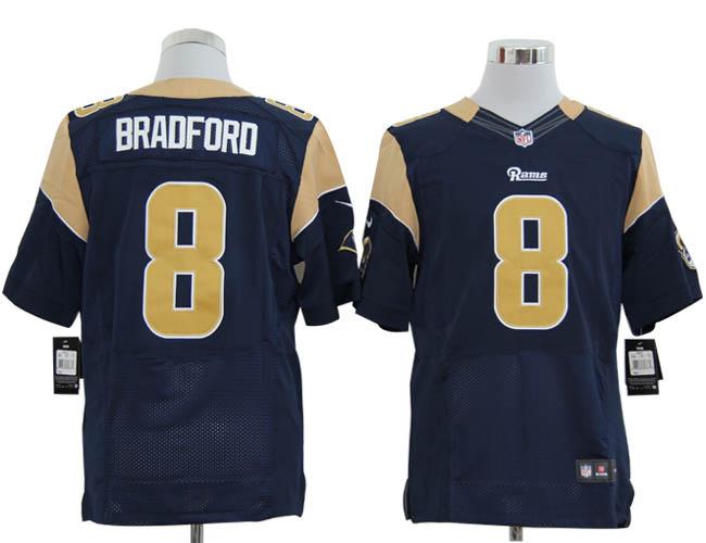Size 60 4XL-Sam Bradford St. Louis Rams #8 Blue Stitched Nike Elite NFL Jerseys