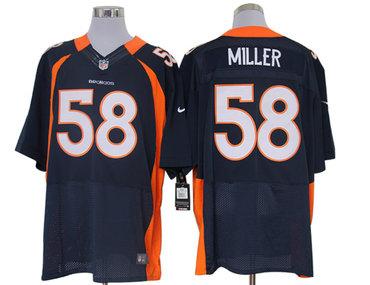 Size 60 4XL-Von Miller Denver Broncos #58 Blue Stitched Nike Elite NFL Jerseys