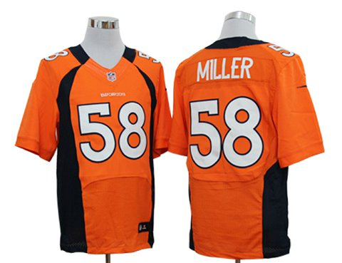 Size 60 4XL-Von Miller Denver Broncos #58 Orange Stitched Nike Elite NFL Jerseys