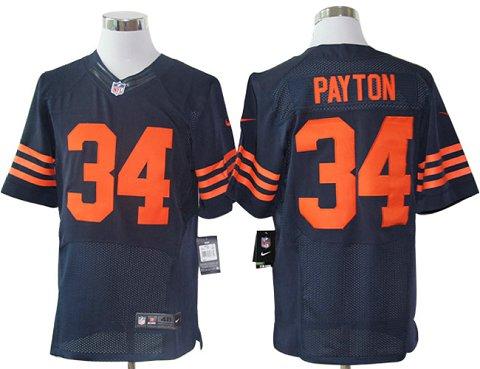 Size 60 4XL-Walter Payton Chicago Bears #34 Blue&Orange Stitched Nike Elite NFL Jerseys