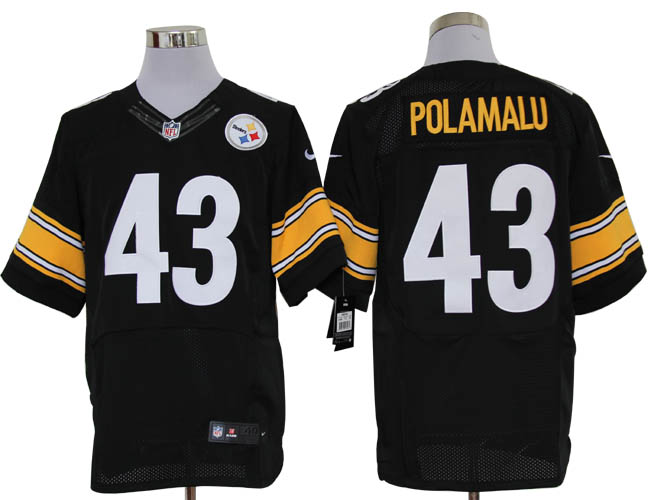 Size 60 4XL-Troy Polamalu Pittsburgh Steelers #43 Black Stitched Nike Elite NFL Jerseys