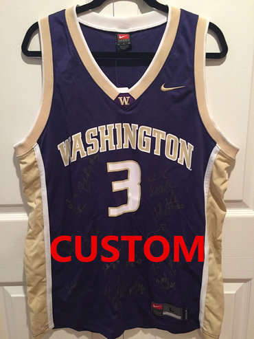Custom NEW Nike Team Washington Huskies 2005 Team Signed Brandon Roy Jersey