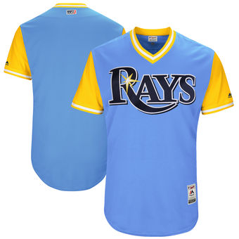 Custom Men's Tampa Bay Rays Majestic Light Blue 2017 Players Weekend Authentic Team Jersey