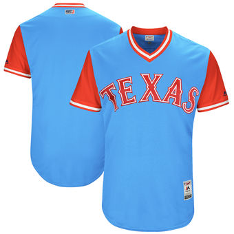 Custom Men's Texas Rangers Majestic Light Blue 2017 Players Weekend Authentic Team Jersey