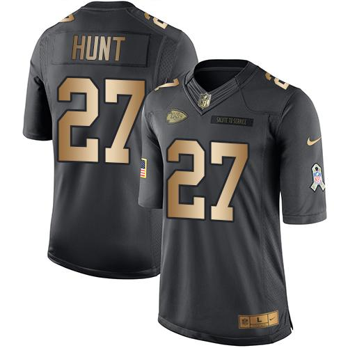 Nike Kansas City Chiefs #27 Kareem Hunt Black Men's Stitched NFL Limited Gold Salute To Service Jersey