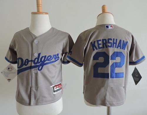 Toddler Los Angeles Dodgers #22 Clayton Kershaw Gray Road Stitched MLB Majestic Cool Base Jersey