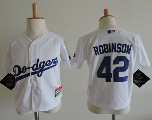 Toddler Los Angeles Dodgers #42 Jackie Robinson White Home Stitched MLB Majestic Cool Base Jersey