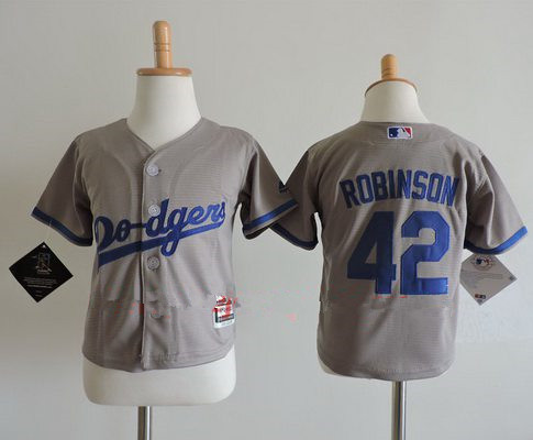 d671f2814 Toddler Los Angeles Dodgers  42 Jackie Robinson Gray Road Stitched MLB  Majestic Cool Base Jersey