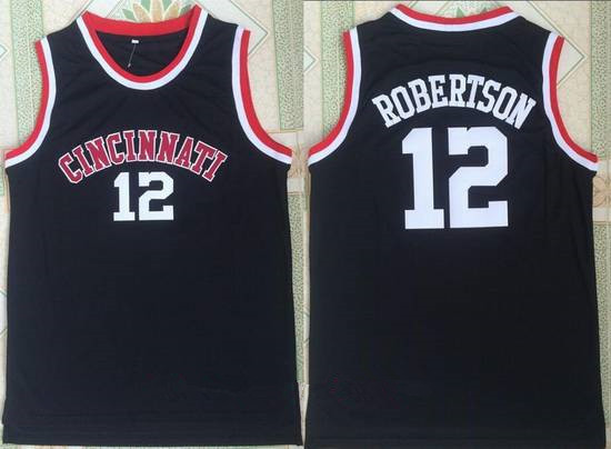 Men's Cincinnati Bearcats #12 Oscar Robertson Black College Basketball Retro Swingman Stitched NCAA Jersey
