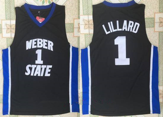 Men's Weber State University #1 Damian Lillard Black College Basketball Retro Swingman Stitched NCAA Jersey