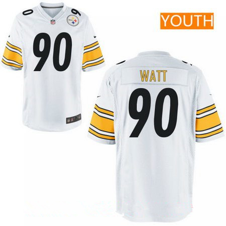 065e6567659 Youth 2017 NFL Draft Pittsburgh Steelers #90 T. J. Watt White Road Stitched  NFL Nike Game Jersey