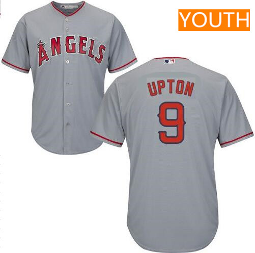 Youth Los Angeles Angels #9 Justin Upton Gray Road Stitched MLB Majestic Cool Base Jersey