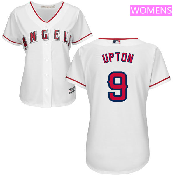 Women's LA Angels of Anaheim #9 Justin Upton White Home Stitched MLB Majestic Cool Base Jersey