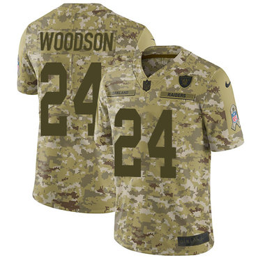 Nike Raiders #24 Charles Woodson Camo Men\'s Stitched NFL Limited 2018 Salute To Service Jersey