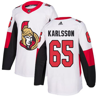 Adidas Men's Ottawa Senators #65 Erik Karlsson Authentic White Away NHL Jersey