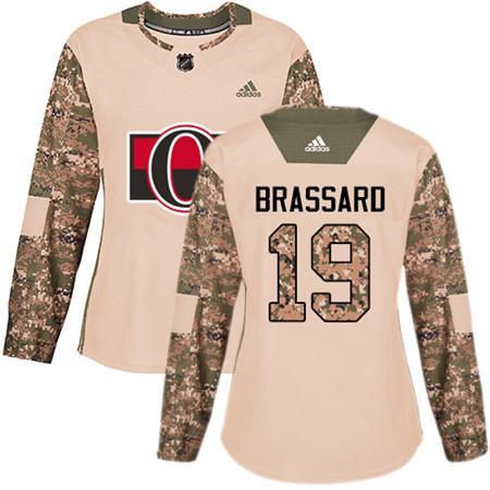 Adidas Senators #19 Derick Brassard Camo Authentic 2017 Veterans Day Women's Stitched NHL Jersey