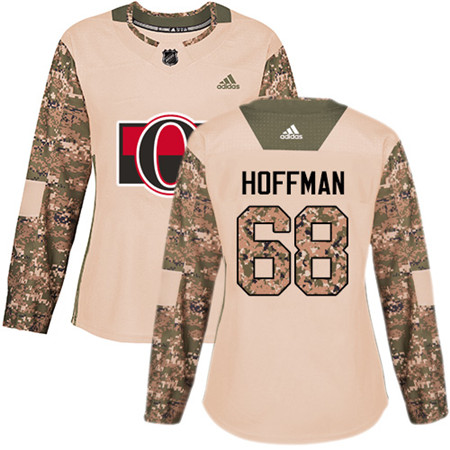 Adidas Senators #68 Mike Hoffman Camo Authentic 2017 Veterans Day Women's Stitched NHL Jersey
