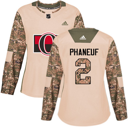 Adidas Senators #2 Dion Phaneuf Camo Authentic 2017 Veterans Day Women's Stitched NHL Jersey