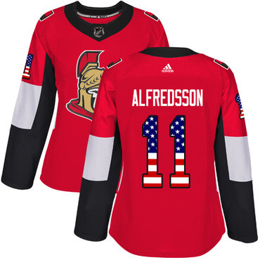 Adidas Senators #11 Daniel Alfredsson Red Home Authentic USA Flag Women's Stitched NHL Jersey