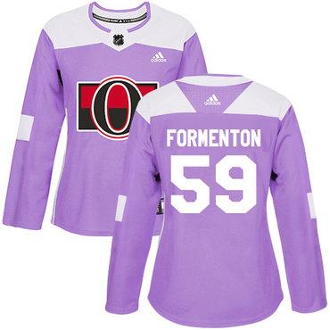 Adidas Women's Alex Formenton Authentic Purple Jersey NHL #59 Ottawa Senators Fights Cancer Practice