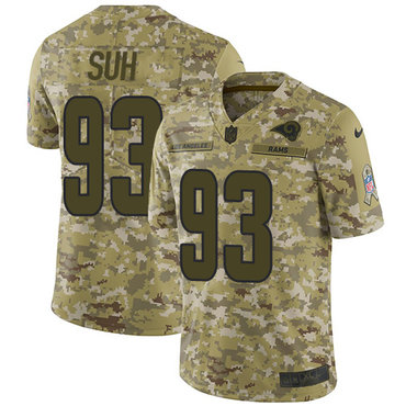 Nike Rams #93 Ndamukong Suh Camo Men\'s Stitched NFL Limited 2018 Salute To Service Jersey
