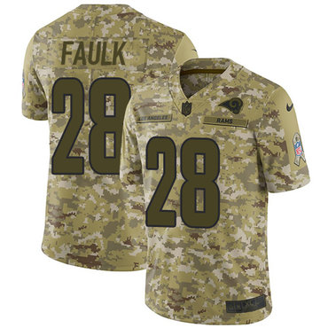 Nike Rams #28 Marshall Faulk Camo Men\'s Stitched NFL Limited 2018 Salute To Service Jersey