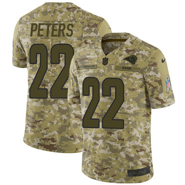 Nike Rams #22 Marcus Peters Camo Men\'s Stitched NFL Limited 2018 Salute To Service Jersey