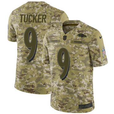 Nike Ravens #9 Justin Tucker Camo Men\'s Stitched NFL Limited 2018 Salute To Service Jersey