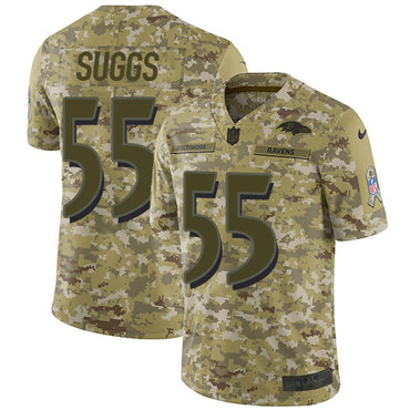 Nike Ravens #55 Terrell Suggs Camo Men\'s Stitched NFL Limited 2018 Salute To Service Jersey