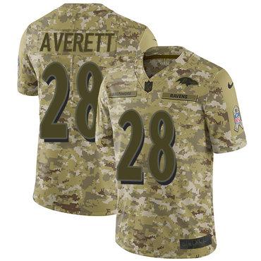 Nike Ravens #28 Anthony Averett Camo Men\'s Stitched NFL Limited 2018 Salute To Service Jersey