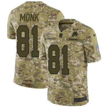 Nike Redskins #81 Art Monk Camo Men\'s Stitched NFL Limited 2018 Salute To Service Jersey