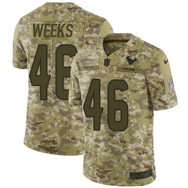 Nike Texans #46 Jon Weeks Camo Men\'s Stitched NFL Limited 2018 Salute To Service Jersey