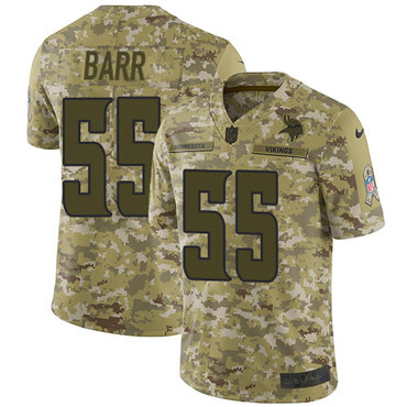Nike Vikings #55 Anthony Barr Camo Men's Stitched NFL Limited 2018 Salute To Service Jersey