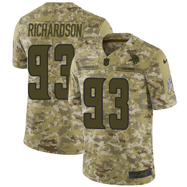 Nike Vikings #93 Sheldon Richardson Camo Men's Stitched NFL Limited 2018 Salute To Service Jersey