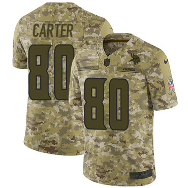 Nike Vikings #80 Cris Carter Camo Men's Stitched NFL Limited 2018 Salute To Service Jersey