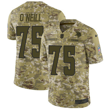Nike Vikings #75 Brian O'Neill Camo Men's Stitched NFL Limited 2018 Salute To Service Jersey