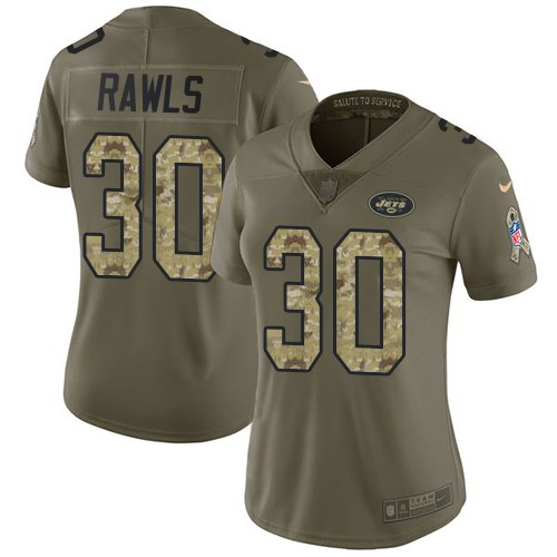 Nike Jets 30 Thomas Rawls Olive Camo Women Salute To Service Limited Jersey
