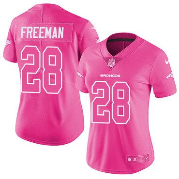 Nike Broncos #28 Royce Freeman Pink Women's Stitched NFL Limited Rush Fashion Jersey