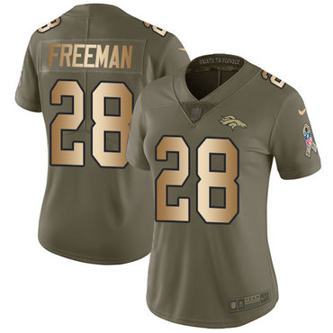 Nike Broncos #28 Royce Freeman Olive Gold Women's Stitched NFL Limited 2017 Salute to Service Jersey