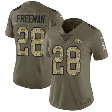 Nike Broncos #28 Royce Freeman Olive Camo Women's Stitched NFL Limited 2017 Salute to Service Jersey