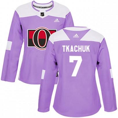 Women's Authentic Ottawa Senators #7 Brady Tkachuk Adidas Fights Cancer Practice Purple Jersey