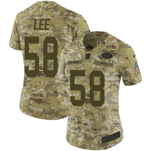 Nike Jets #58 Darron Lee Camo Women\'s Stitched NFL Limited 2018 Salute to Service Jersey