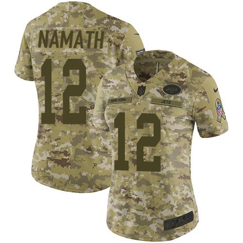 Nike Jets #12 Joe Namath Camo Women\'s Stitched NFL Limited 2018 Salute to Service Jersey