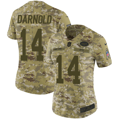Nike Jets #14 Sam Darnold Camo Women\'s Stitched NFL Limited 2018 Salute to Service Jersey