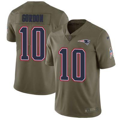 Men's NFL New England Patriots #10 Josh Gordon Olive 2017 Salute to Service Limited Nike Jersey
