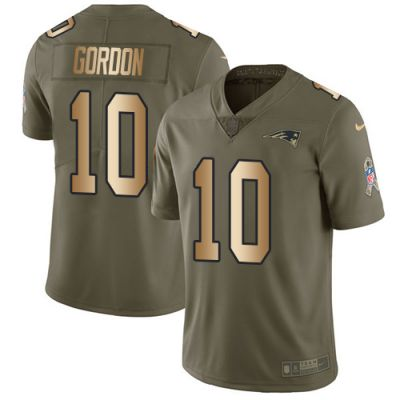 Men's NFL New England Patriots #10 Josh Gordon Olive Gold 2017 Salute to Service Limited Nike Jersey