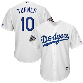 Men's Los Angeles Dodgers #10 Justin Turner Majestic White 2018 World Series Cool Base Player Jersey